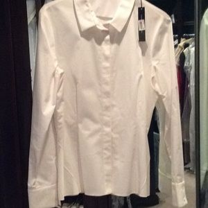 Elie Tahari white cotton, stretchy blouse, nwt, M